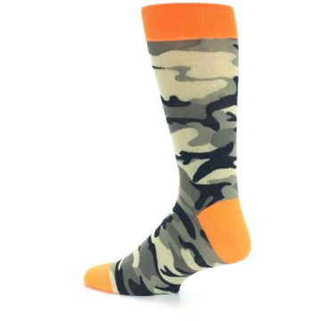 Image of Green Black Orange Camo Men's Dress Socks (side-2-13)