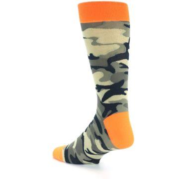Image of Green Black Orange Camo Men's Dress Socks (side-2-back-14)