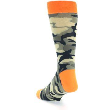 Image of Green Black Orange Camo Men's Dress Socks (side-2-back-15)