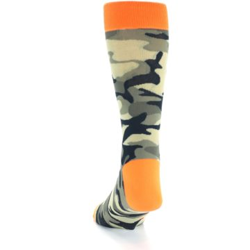 Image of Green Black Orange Camo Men's Dress Socks (side-2-back-16)