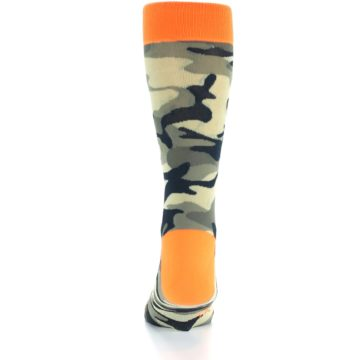 Image of Green Black Orange Camo Men's Dress Socks (back-17)