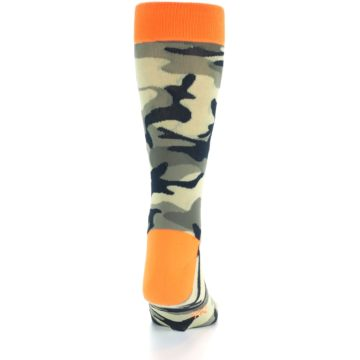Image of Green Black Orange Camo Men's Dress Socks (back-18)