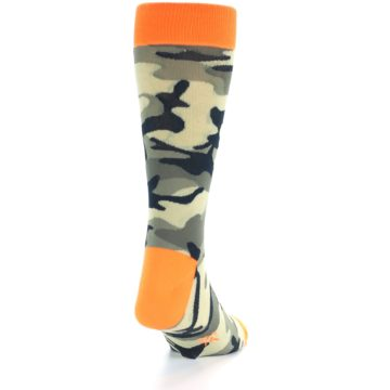 Image of Green Black Orange Camo Men's Dress Socks (back-19)