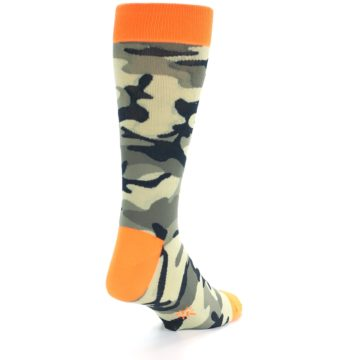 Image of Green Black Orange Camo Men's Dress Socks (side-1-back-20)