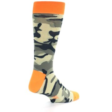 Image of Green Black Orange Camo Men's Dress Socks (side-1-back-21)
