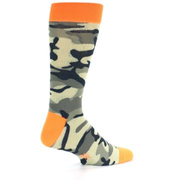 Image of Green Black Orange Camo Men's Dress Socks (side-1-back-22)
