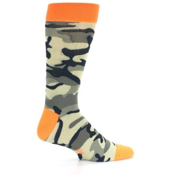 Image of Green Black Orange Camo Men's Dress Socks (side-1-23)