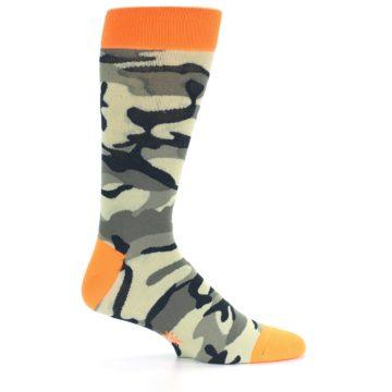 Image of Green Black Orange Camo Men's Dress Socks (side-1-24)