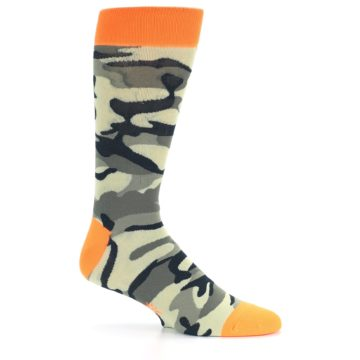 Image of Green Black Orange Camo Men's Dress Socks (side-1-25)