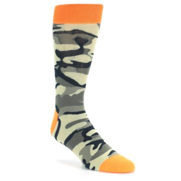 Image of Green Black Orange Camo Men's Dress Socks (side-1-27)