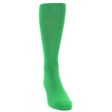 Image of Kelly Green Solid Color Men's Dress Socks (side-1-front-03)
