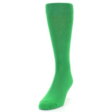 Image of Kelly Green Solid Color Men's Dress Socks (side-2-front-06)
