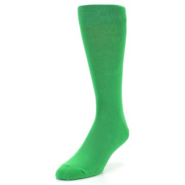 Image of Kelly Green Solid Color Men's Dress Socks (side-2-front-07)