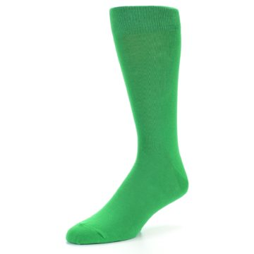 Image of Kelly Green Solid Color Men's Dress Socks (side-2-front-08)