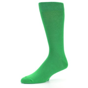 Image of Kelly Green Solid Color Men's Dress Socks (side-2-09)