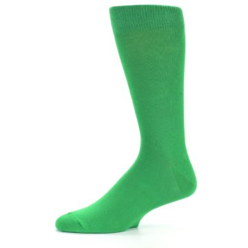 Image of Kelly Green Solid Color Men's Dress Socks (side-2-10)