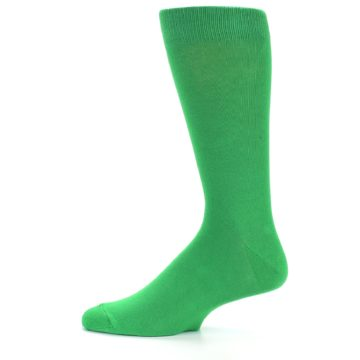 Image of Kelly Green Solid Color Men's Dress Socks (side-2-11)
