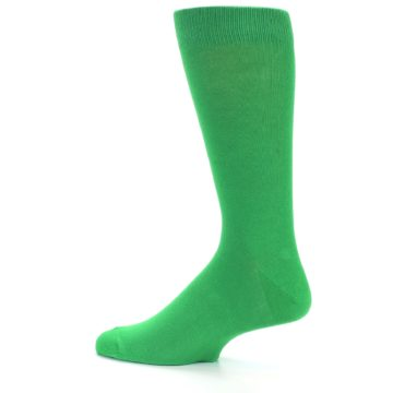Image of Kelly Green Solid Color Men's Dress Socks (side-2-12)