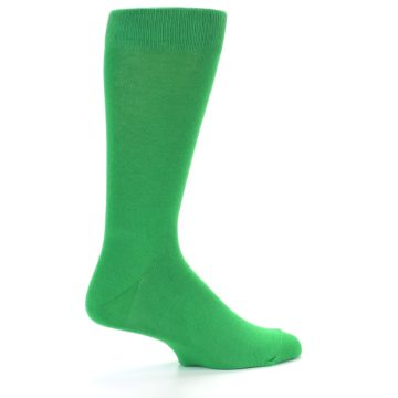 Image of Kelly Green Solid Color Men's Dress Socks (side-1-back-22)