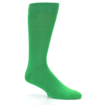 Image of Kelly Green Solid Color Men's Dress Socks (side-1-25)