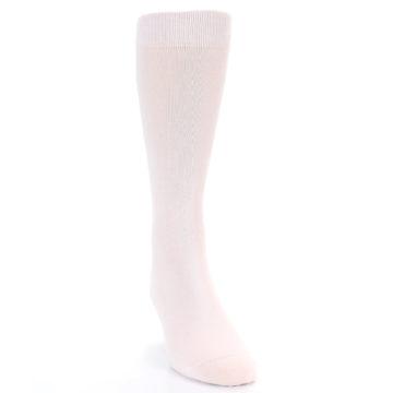 Image of Petal Pink Blush Solid Color Men's Dress Socks (side-1-front-03)