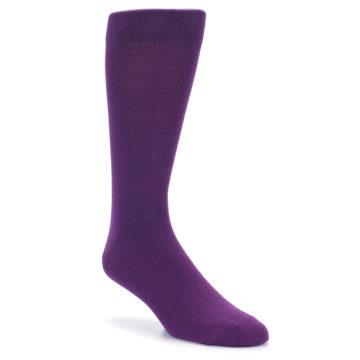 Image of Plum Purple Solid Color Men's Dress Socks (side-1-front-01)
