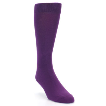 Image of Plum Purple Solid Color Men's Dress Socks (side-1-front-02)