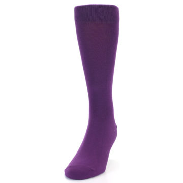 Image of Plum Purple Solid Color Men's Dress Socks (side-2-front-06)
