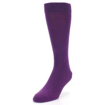 Image of Plum Purple Solid Color Men's Dress Socks (side-2-front-07)