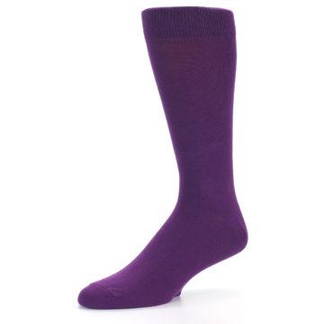 Image of Plum Purple Solid Color Men's Dress Socks (side-2-09)