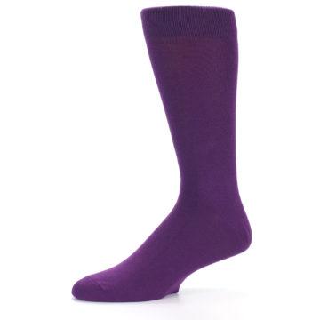 Image of Plum Purple Solid Color Men's Dress Socks (side-2-10)