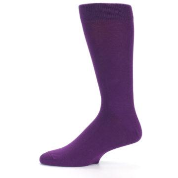 Image of Plum Purple Solid Color Men's Dress Socks (side-2-11)