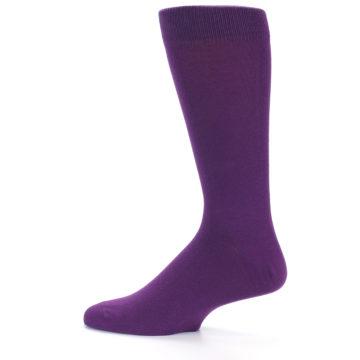 Image of Plum Purple Solid Color Men's Dress Socks (side-2-12)