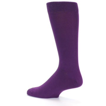 Image of Plum Purple Solid Color Men's Dress Socks (side-2-13)