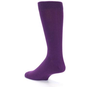 Image of Plum Purple Solid Color Men's Dress Socks (side-2-back-14)