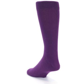 Image of Plum Purple Solid Color Men's Dress Socks (side-2-back-15)