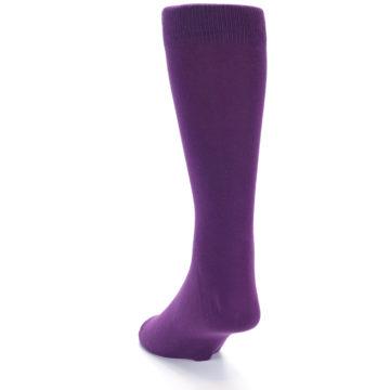 Image of Plum Purple Solid Color Men's Dress Socks (side-2-back-16)