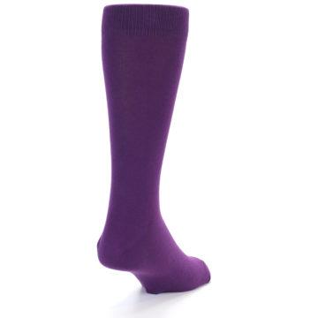 Image of Plum Purple Solid Color Men's Dress Socks (side-1-back-20)
