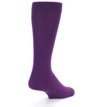 Image of Plum Purple Solid Color Men's Dress Socks (side-1-back-21)