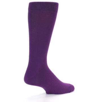Image of Plum Purple Solid Color Men's Dress Socks (side-1-back-22)