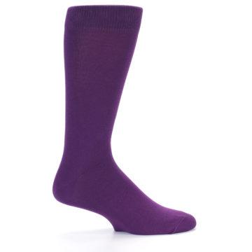 Image of Plum Purple Solid Color Men's Dress Socks (side-1-24)