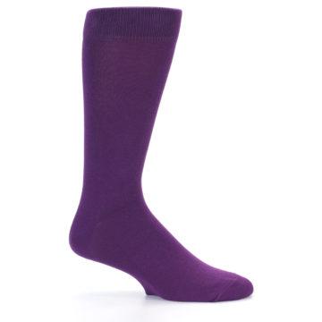Image of Plum Purple Solid Color Men's Dress Socks (side-1-25)