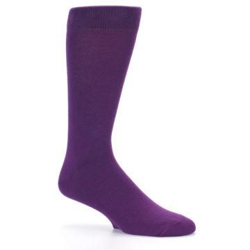 Image of Plum Purple Solid Color Men's Dress Socks (side-1-26)