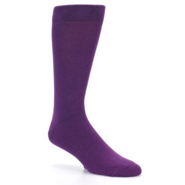 Image of Plum Purple Solid Color Men's Dress Socks (side-1-27)