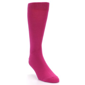 Image of Watermelon / Fuchsia Solid Color Men's Dress Socks (side-1-front-02)