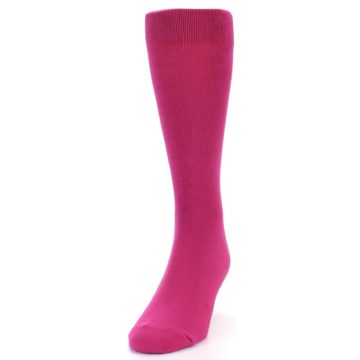 Image of Watermelon / Fuchsia Solid Color Men's Dress Socks (side-2-front-06)
