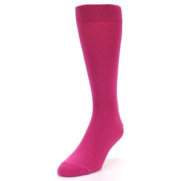 Image of Watermelon / Fuchsia Solid Color Men's Dress Socks (side-2-front-07)