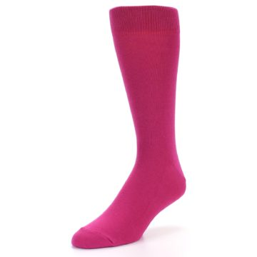 Image of Watermelon / Fuchsia Solid Color Men's Dress Socks (side-2-front-08)