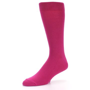 Image of Watermelon / Fuchsia Solid Color Men's Dress Socks (side-2-09)