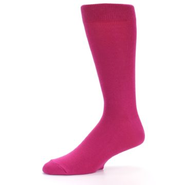 Image of Watermelon / Fuchsia Solid Color Men's Dress Socks (side-2-10)